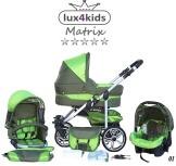 Chilly Kids Matrix II Kinderwagen Komplettset (Autositz & Adapter, Regenschutz, Moskitonetz, Schwenkräder) 01 Oliv & Grün - 1