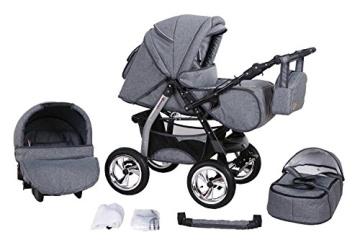 """Clamaro 3 in 1 """"Milo 2016"""" Kombi Kinderwagen inkl. Babywanne, Sport Buggyaufsatz, Babyschale (ISOFIX) - Luft Bereifung (Delta / Chrom) - 5. Leinengrau - 1"""