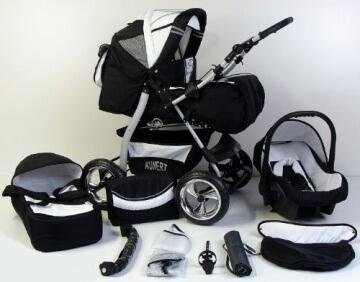 """Clamaro 3 in 1 """"VIP"""" Kombi Kinderwagen aus Aluminium inkl. Soft Babywanne, Sport Buggyaufsatz, Babyschale (ISOFIX) - Hartgummi Bereifung (Alu) - 10. Bordeaux / Rosa - 1"""