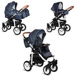 My Junior+® Miyo 3in1 Kombikinderwagen Komplettset bis zum 4.Lebensjahr---3 Years Guarantee---+Autositz (11-Teile-Megaset) Premium Kinderwagen (Jeans-Blue White Edition) - 1