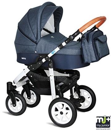 My Junior+® Miyo 3in1 Kombikinderwagen Komplettset bis zum 4.Lebensjahr---3 Years Guarantee---+Autositz (11-Teile-Megaset) Premium Kinderwagen (Jeans-Blue White Edition) - 2