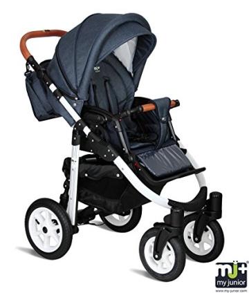 My Junior+® Miyo 3in1 Kombikinderwagen Komplettset bis zum 4.Lebensjahr---3 Years Guarantee---+Autositz (11-Teile-Megaset) Premium Kinderwagen (Jeans-Blue White Edition) - 3