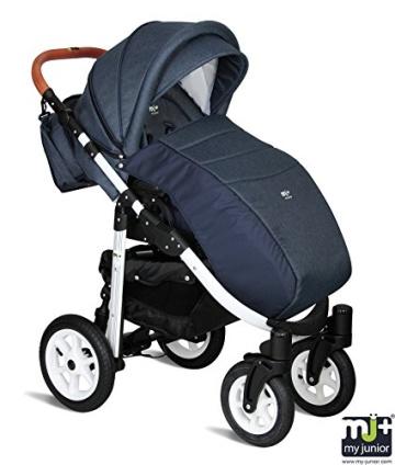 My Junior+® Miyo 3in1 Kombikinderwagen Komplettset bis zum 4.Lebensjahr---3 Years Guarantee---+Autositz (11-Teile-Megaset) Premium Kinderwagen (Jeans-Blue White Edition) - 4