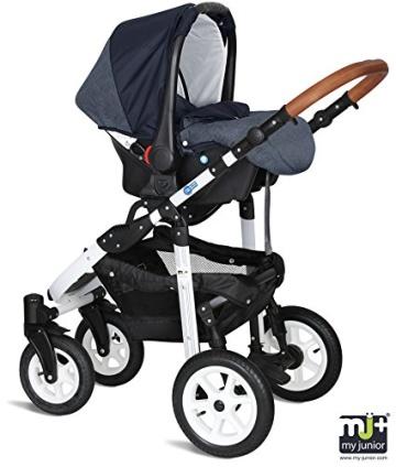 My Junior+® Miyo 3in1 Kombikinderwagen Komplettset bis zum 4.Lebensjahr---3 Years Guarantee---+Autositz (11-Teile-Megaset) Premium Kinderwagen (Jeans-Blue White Edition) - 5
